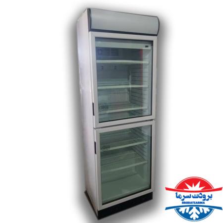 یخچال نوشیدنی ایستاده دو درب فروشگاهی