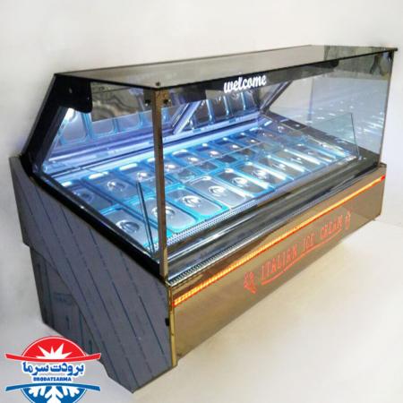 تاپینگ بستنی 18 لگن بدنه استیل با کیفیت و شیشه ضد بخار