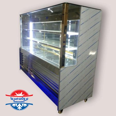 یخچال ویترینی مکعبی سه طبقه با نورپردازی