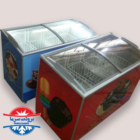 فریزر صندوقی درب شیشه ای بستنی ۴۰۰ لیتری