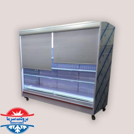 یخچال بدون درب ایستاده فروشگاهی با کاور شب