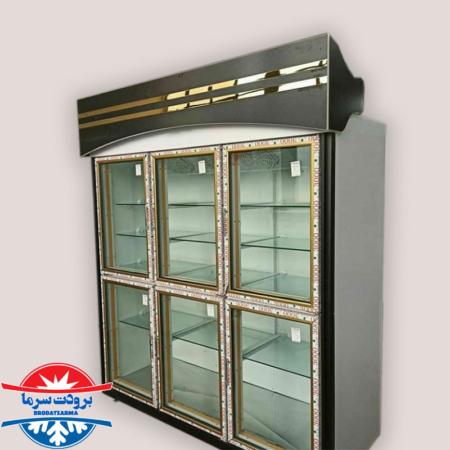 یخچال ایستاده صنعتی با شش درب شیشه ای